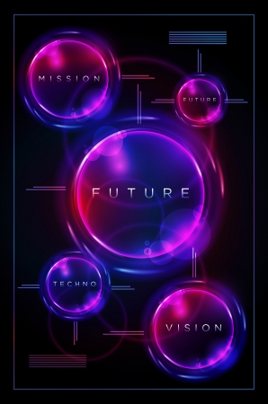neon party: Vector design template. Circles on black background. Elements are layered separately in vector file. Illustration