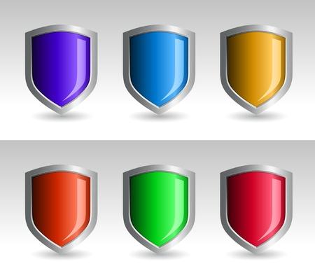 방패: 방패 컬렉션입니다. 방패와 배경은 별도로 계층화됩니다. 일러스트 레이터에서 쉽게 편집 할 수 색.