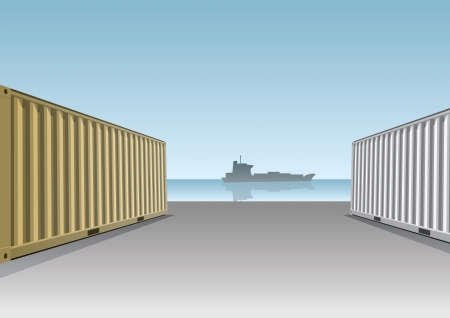 seaport: Cargo Containers at a dock illustration