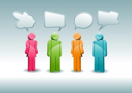 Eine Gruppe von Zeichen, die eine Diskussion