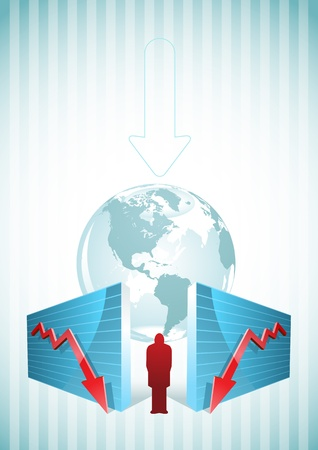 turmoil: Moving down charts and businessman  Illustration