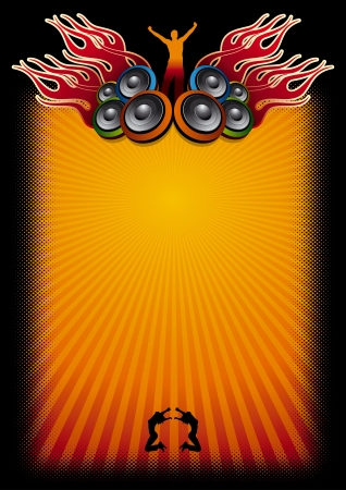 disk jockey: Speakers, flames, dj, dancing girl  Illustration