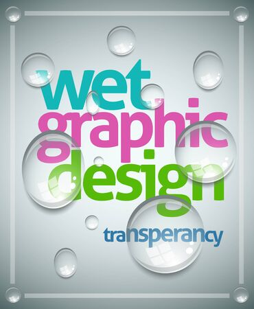 water droplet: wet poster template  Transparent water drops, text and background are separated layers  Easy editable  Illustration