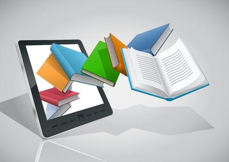portadas de libros: Lector de libros electr�nicos y libros de ilustraci�n elementos se colocan en capas por separado F�cil editable