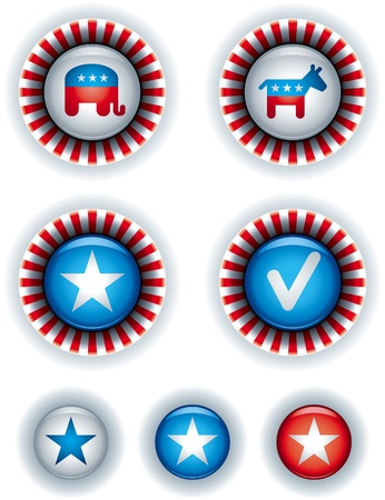 republican party: Political campaign badges and buttons  Illustration