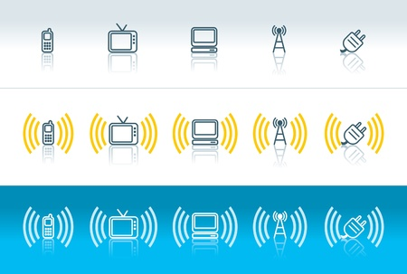 electromagnetic: cellphone, tv, computer, wireless and plug icons with electromagnetic waves