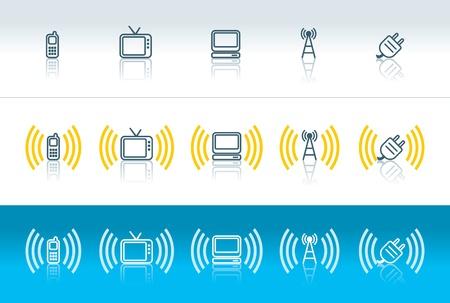 icônes portable, télévision, ordinateur, sans fil et la fiche avec des ondes électromagnétiques