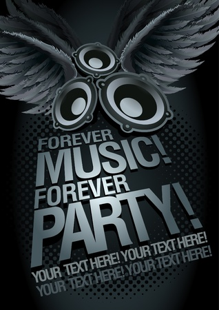 disco party: Forever Music Forever Party  Music concept poster template   Illustration