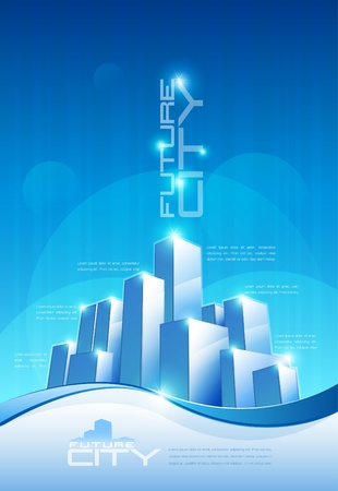 cityscape silhouette: abstract future city scene with copy space