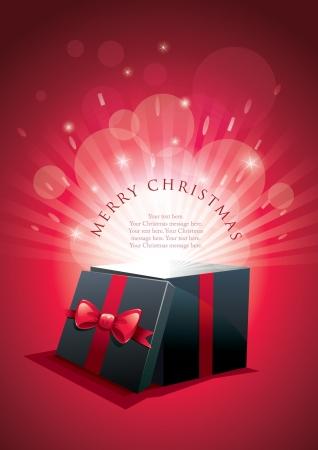 magic box: illustration of exploding gift box. Merry Christmas message.