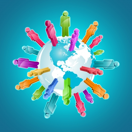 community service: Global community. 3d illustration. Illustration