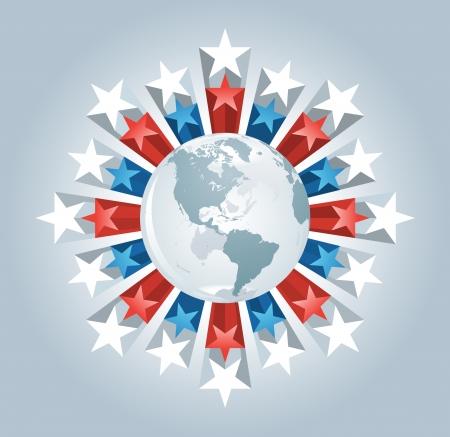 continente americano: globo y las estrellas echó