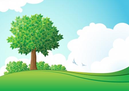 Green landscape  illustration Stock Vector - 18922886