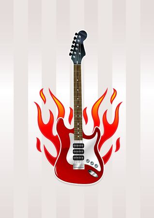 Electric guitar with flames Vector