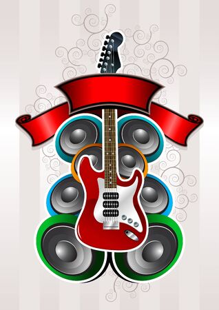Electric guitar with speakers Stock Vector - 18922738