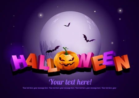 Happy Halloween poster template.  Vector