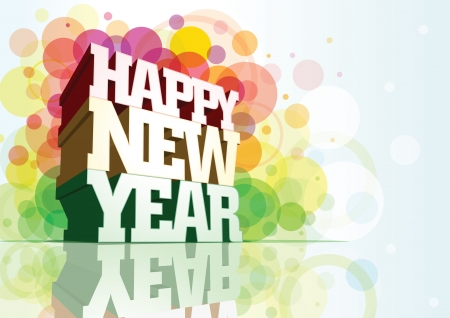 Happy New Year 3d message composition. Stock Vector - 18923915