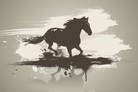 western background: Ilustraci�n art�stica caballo. Vectores