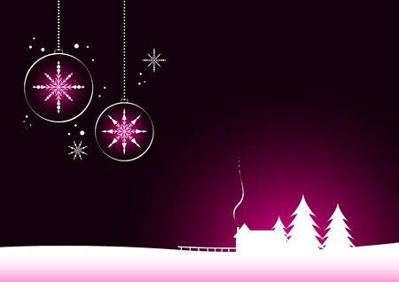 Minimal christmas design  Christmas balls and house Stock Vector - 18921875