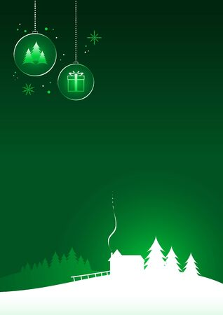 Minimal christmas design  christmas house on green background  Stock Vector - 18921883