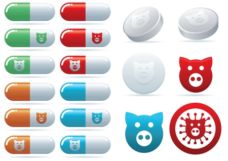 Swine flu  illustration icon set  Vector