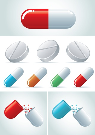 Pills icon set illustration icon set Stock Vector - 18921390