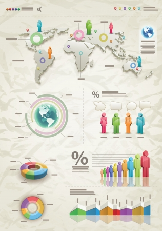 demographics: 3d world map illustration and info graphics design template  Illustration