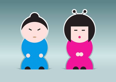 Japanese boy and girl illustration Vector