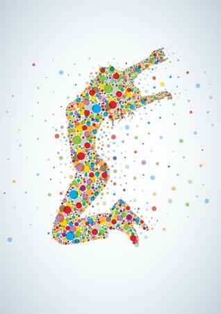 Active girl saltando con círculos de colores Ilustración de vector