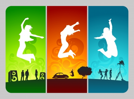 funky active people on colorful grunge background  Vector