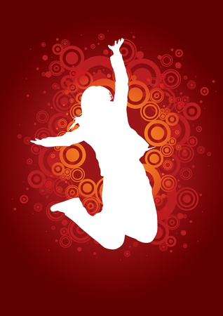 celebrate life: Funky girl jumping on circles background
