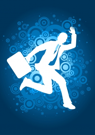 businessman jumping: Businessman jumping on circles background