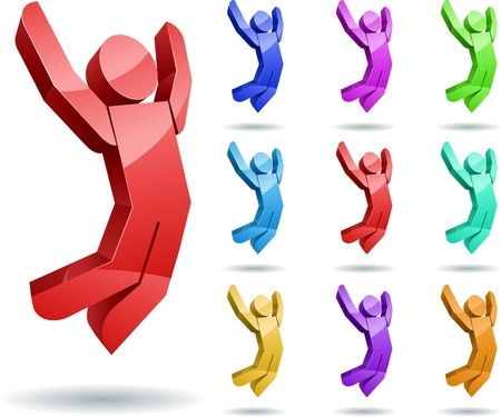3d jumping man icon set Stock Vector - 18922405
