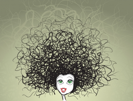girl portrait  crazy hairstyle  Vector