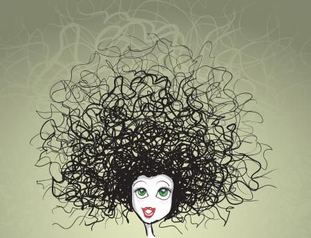 meisje portret gek kapsel Vector Illustratie