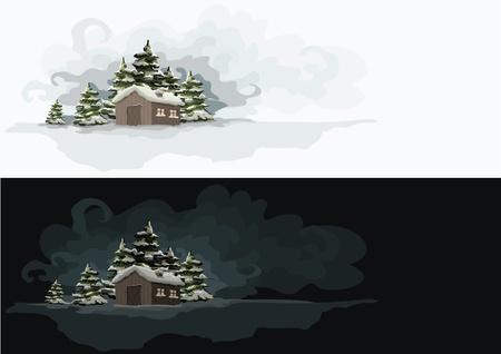 dia y noche: Artistic día paisaje de invierno y Elementos noche se acodan por separado en el archivo vectorial Vectores