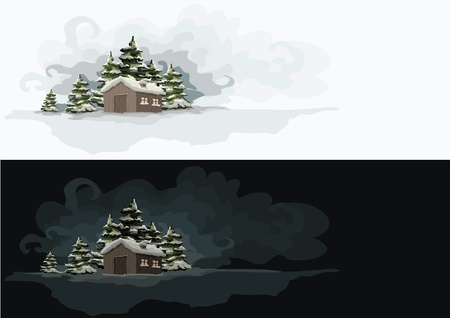 day night: Artistic winter landscape  day and night  Elements are layered separately in vector file  Illustration