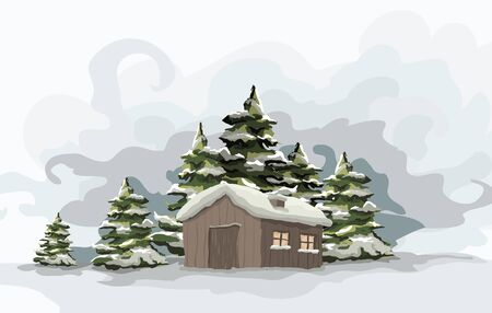 Snowly winter day  Artistic winter landscape  Vector