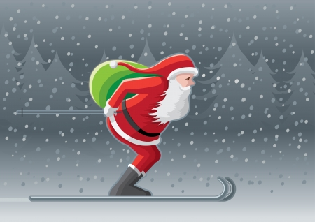 Santa Claus delivering presents Vector