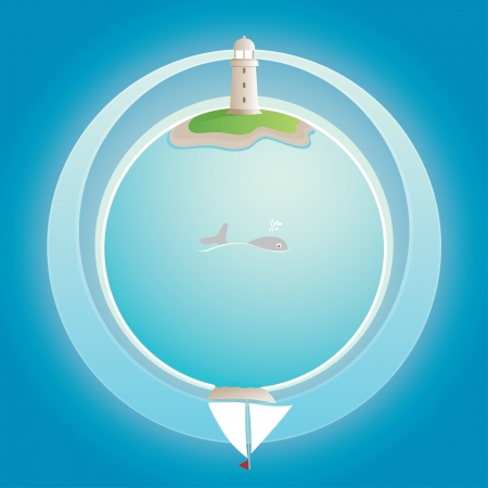 lighthouse on blue globe   Stock Vector - 18921392