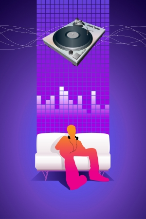 Listening to the music  Stock Vector - 18922710