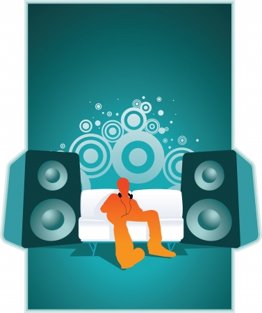 Listen to the music illustration  Stock Vector - 18921803
