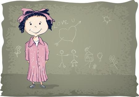 Hand drawing little girl illustration Stock Vector - 18922520
