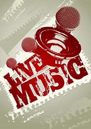 live entertainment: Musica dal vivo modello di manifesto del grunge