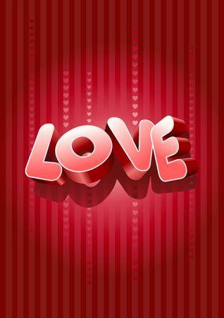 edit valentine: 3d love text on red background