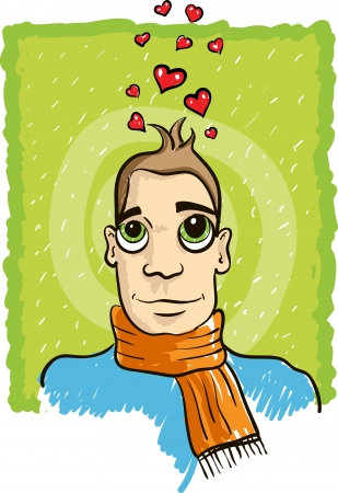 cartoon lover man thinking love. Vector