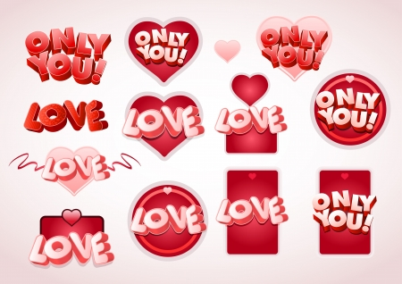 Love and Only you text tag set Illustration