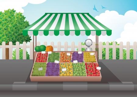 Ilustracja stoisko owoców i warzyw.