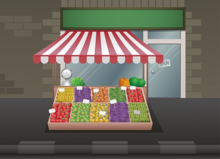 inexpensive: Fruit and vegetable stall illustration.