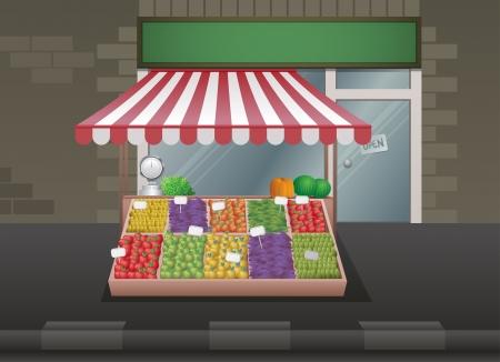 bancarella: Frutta e verdura di stallo illustrazione.